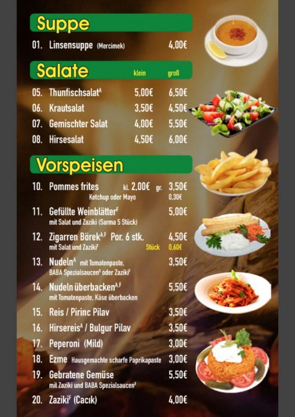 Speisekarte Baba Restaurant